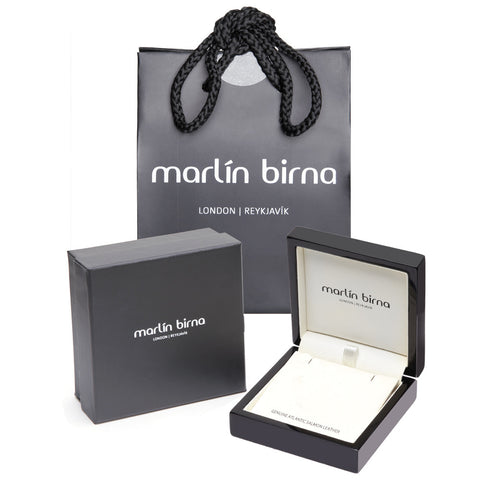 Atlantic Salmon Leather Pendant Silver-Tone ▪ Black - Marlín Birna Ltd.