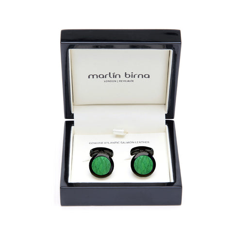 Atlantic Salmon Leather Cufflinks Black-Tone ▪ Light Green - Marlín Birna Ltd.