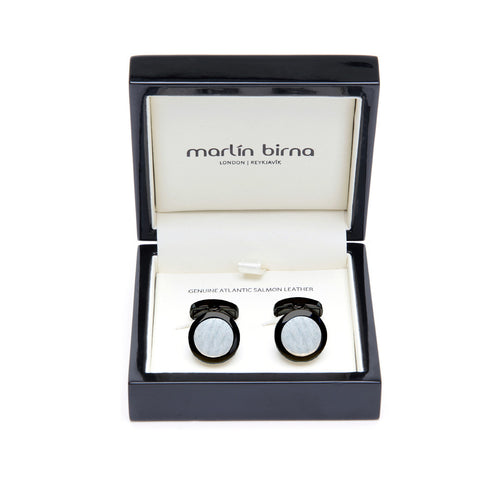 Atlantic Salmon Leather Cufflinks Black-Tone ▪ White - Marlín Birna Ltd.