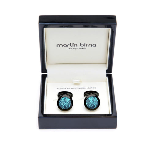 Atlantic Salmon Leather Cufflinks Black-Tone ▪ Blue/Blue Metallic - Marlín Birna Ltd.