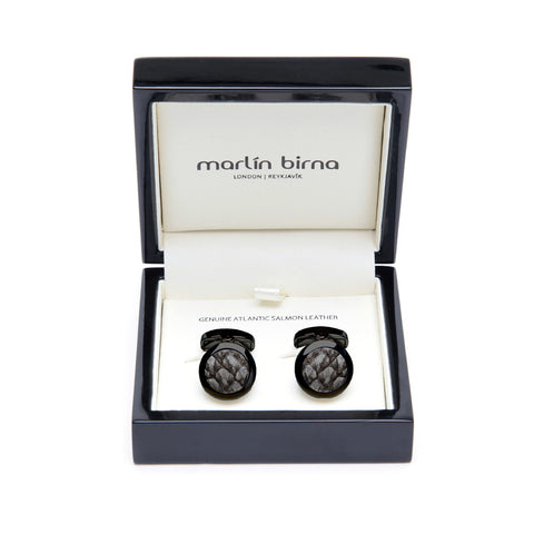 Atlantic Salmon Leather Cufflinks Black-Tone ▪ Grey - Marlín Birna Ltd.