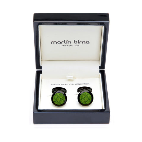 Atlantic Salmon Leather Cufflinks Black-Tone ▪ Olive Green - Marlín Birna Ltd.