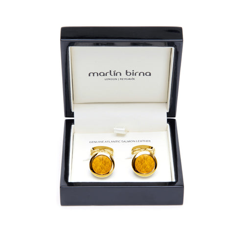 Atlantic Salmon Leather Cufflinks Gold-Tone ▪ Yellow - Marlín Birna Ltd.