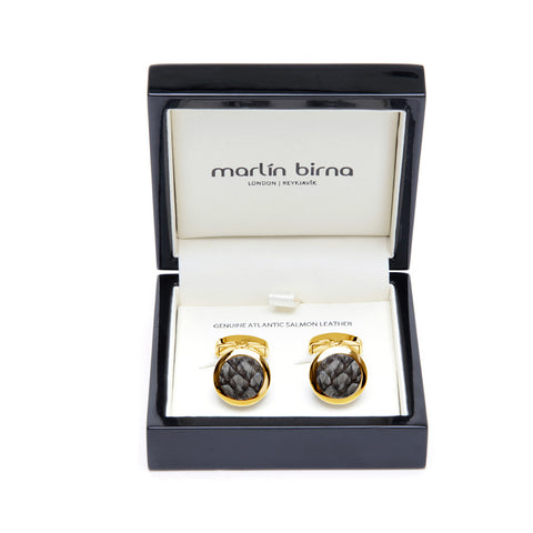 Atlantic Salmon Leather Cufflinks Gold-Tone ▪ Grey - Marlín Birna Ltd.