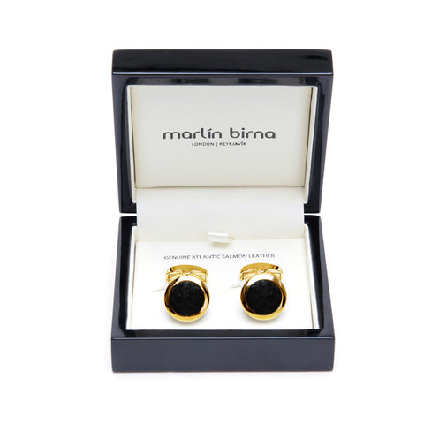 Atlantic Salmon Leather Cufflinks Gold-Tone ▪ Black - Marlín Birna Ltd.