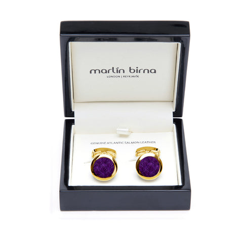 Atlantic Salmon Leather Cufflinks Gold-Tone ▪ Purple - Marlín Birna Ltd.