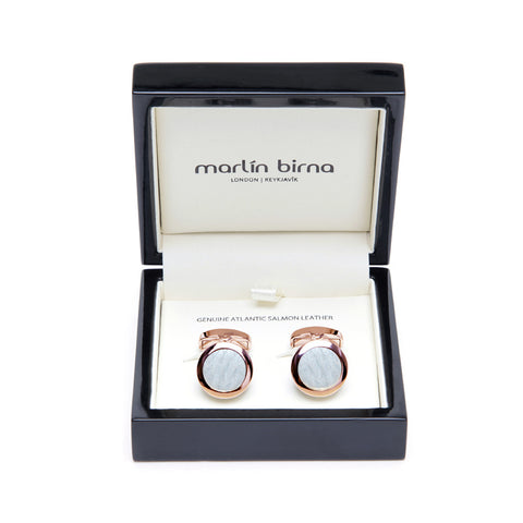 Atlantic Salmon Leather Cufflinks Rose Gold-Tone ▪ White - Marlín Birna Ltd.