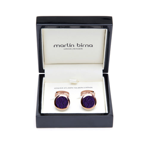 Atlantic Salmon Leather Cufflinks Rose Gold-Tone ▪ Purple - Marlín Birna Ltd.
