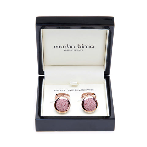 Atlantic Salmon Leather Cufflinks Rose Gold-Tone ▪ Light Pink - Marlín Birna Ltd.