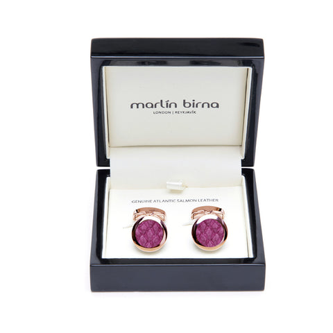 Atlantic Salmon Leather Cufflinks Rose Gold-Tone ▪ Magenta - Marlín Birna Ltd.