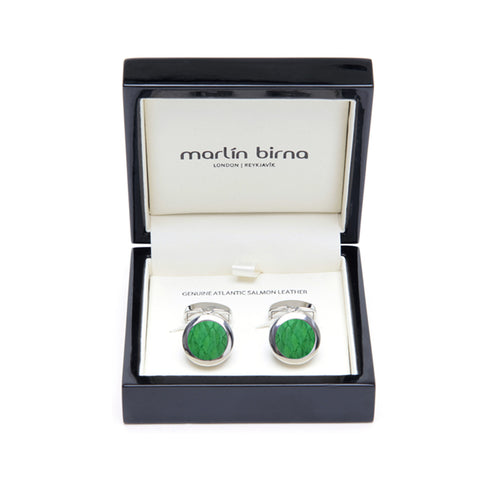 Atlantic Salmon Leather Cufflinks Silver-Tone ▪ Light Green - Marlín Birna Ltd.