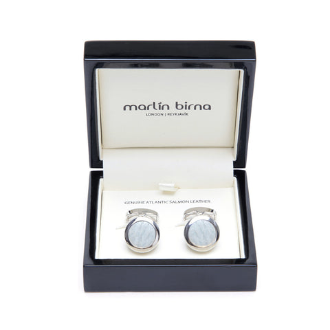 Atlantic Salmon Leather Cufflinks Silver-Tone ▪ White - Marlín Birna Ltd.