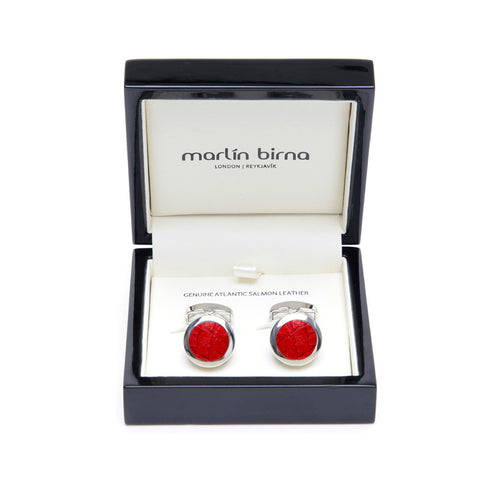 Atlantic Salmon Leather Cufflinks Silver-Tone ▪ Red - Marlín Birna Ltd.