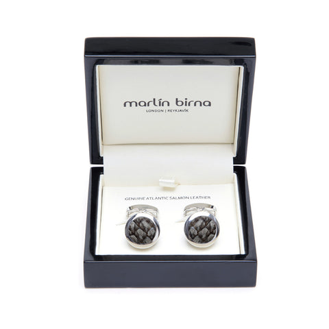 Atlantic Salmon Leather Cufflinks Silver-Tone ▪ Grey - Marlín Birna Ltd.