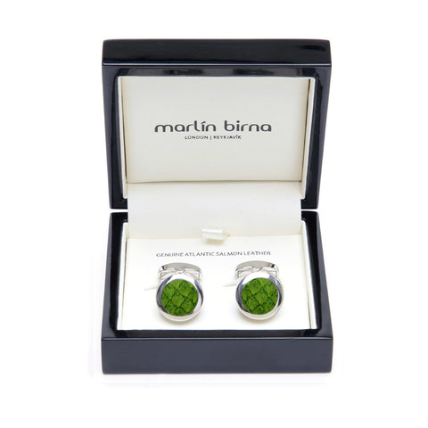 Atlantic Salmon Leather Cufflinks Silver-Tone ▪  Olive Green - Marlín Birna Ltd.