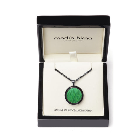 Atlantic Salmon Leather Pendant Black-Tone ▪ Light Green - Marlín Birna Ltd.