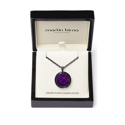 Atlantic Salmon Leather Pendant Black-Tone ▪ Purple - Marlín Birna Ltd.