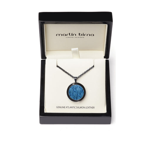 Atlantic Salmon Leather Pendant Black-Tone ▪ Light Blue - Marlín Birna Ltd.
