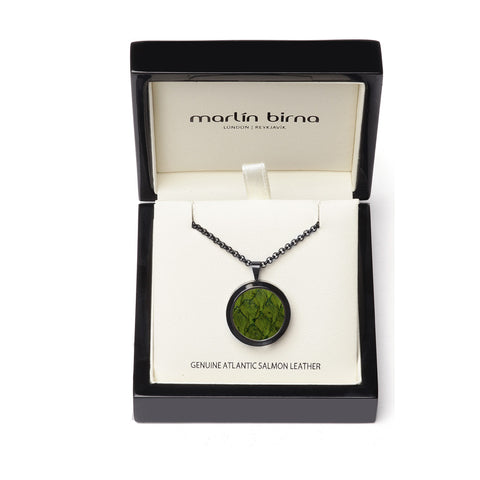 Atlantic Salmon Leather Pendant Black-Tone ▪ Olive Green - Marlín Birna Ltd.