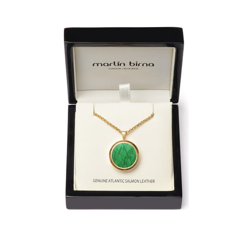 Atlantic Salmon Leather Pendant Gold-Tone ▪ Light Green - Marlín Birna Ltd.