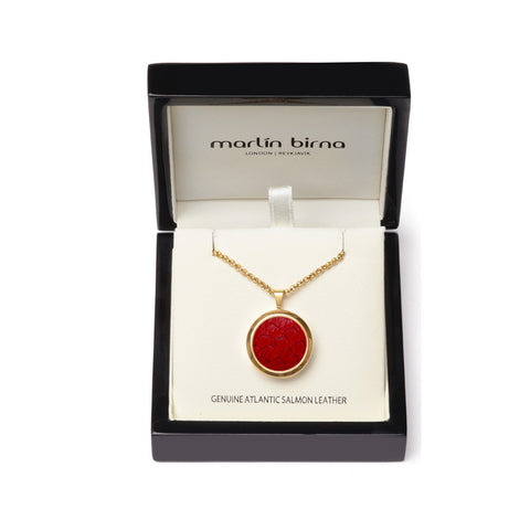 Atlantic Salmon Leather Pendant Gold-Tone ▪ Red - Marlín Birna Ltd.