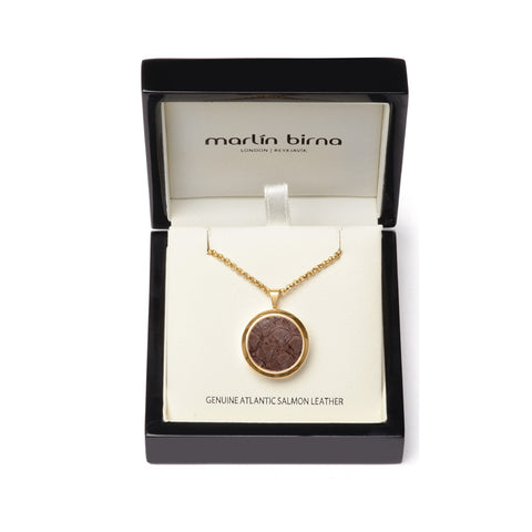 Atlantic Salmon Leather Pendant Gold-Tone ▪ Taupe - Marlín Birna Ltd.