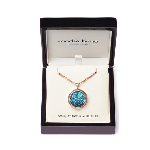 Atlantic Salmon Leather Pendant Rose Gold-Tone ▪ Blue/Blue Metallic - Marlín Birna Ltd.