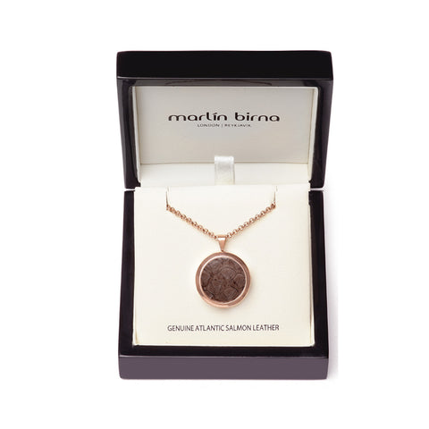 Atlantic Salmon Leather Pendant Rose Gold-Tone ▪ Taupe - Marlín Birna Ltd.