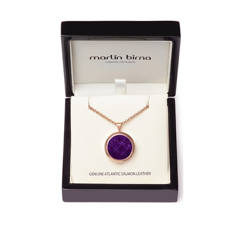 Atlantic Salmon Leather Pendant Rose Gold-Tone ▪ Purple - Marlín Birna Ltd.