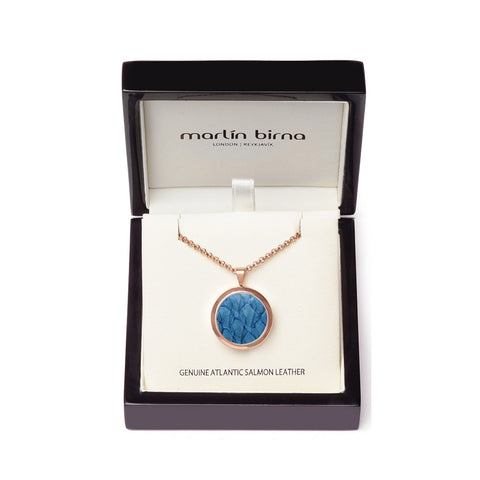 Atlantic Salmon Leather Pendant Rose Gold-Tone ▪ Light Blue - Marlín Birna Ltd.
