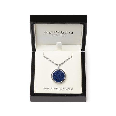 Atlantic Salmon Leather Pendant Silver-Tone ▪ Dark Blue - Marlín Birna Ltd.