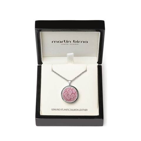 Atlantic Salmon Leather Pendant Silver-Tone ▪ Light Pink - Marlín Birna Ltd.