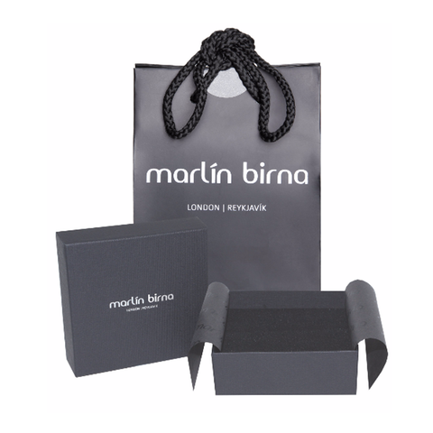 Genuine Leather Bracelet w/Chain and Zirconia ▪ Black - Marlín Birna Ltd.