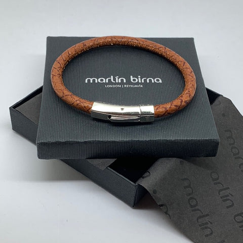 Atlantic Salmon Leather Cord Bracelet ▪ Cognac - Marlín Birna Ltd.