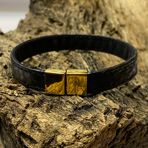 Atlantic Salmon Leather Strap Bracelet ▪ Black & Gold Clasp