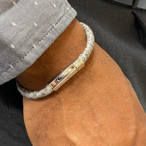 Atlantic Salmon Leather Cord Bracelet ▪ Grey