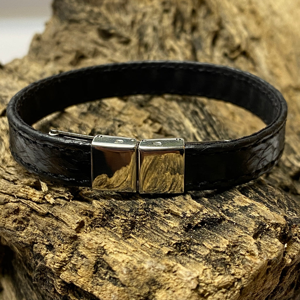Atlantic Salmon Leather Strap Bracelet ▪ Black ▪ Stainless Steel Clasp - Marlín Birna Ltd.
