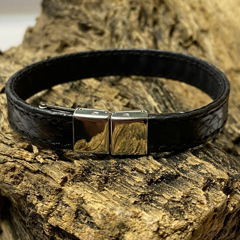 Atlantic Salmon Leather Strap Bracelet ▪ Black ▪ Stainless Steel Clasp