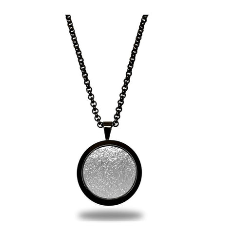 VEGAN Pendant ▪ Piñatex Pineapple Leaf Fibres ▪ Black and Silver - Marlín Birna Ltd.