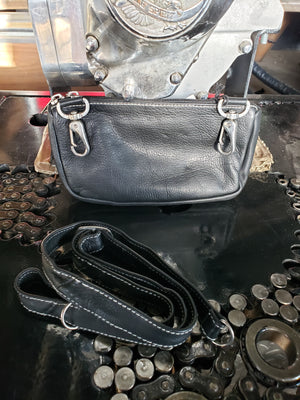 Leather hip clip purse - zip