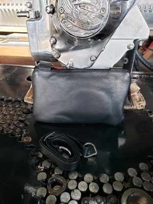 Leather hip clip purse - bling
