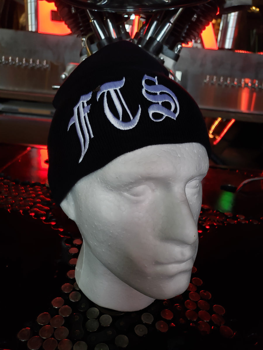 Beanie - FTS Classic black knit cap with white embroidery