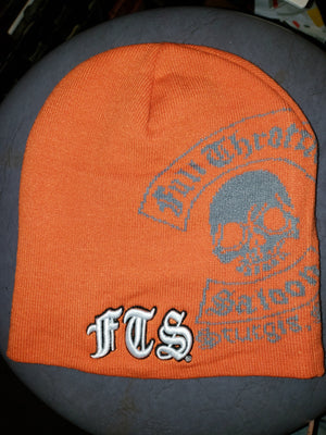 Beanie - FTS orange and gray knit cap