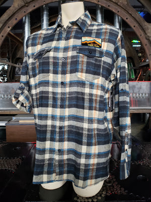 Plaid khaki Flannel Long Sleeve button down shirt