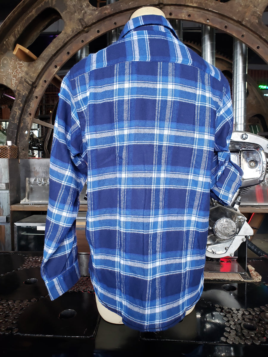 Plaid blue / white Flannel Long Sleeve button down shirt