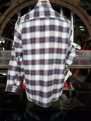 Plaid white / red Flannel Long Sleeve button down shirt