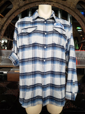 Plaid grey / blue Flannel Long Sleeve button down shirt