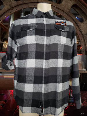 Plaid grey / white Flannel Long Sleeve button down shirt