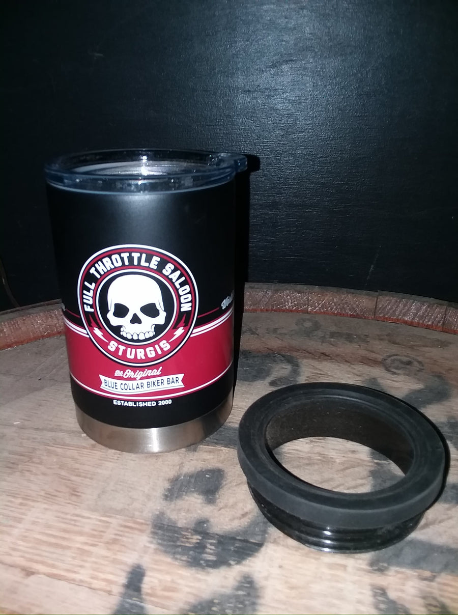 11 oz black and red Stainless Steel Tumbler / Koozie