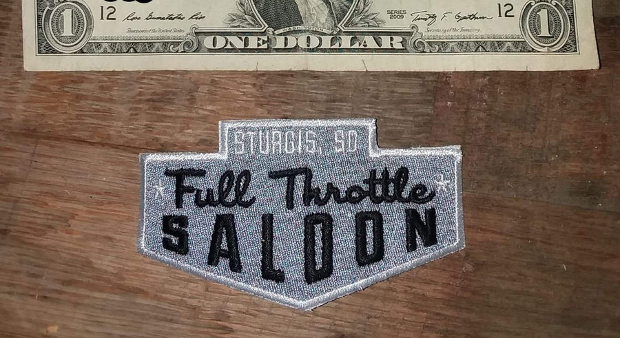 Full Throttle Saloon 3.5 x 2 in Silver Chevron Patch